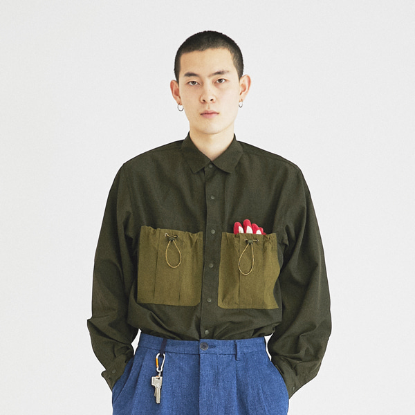 [컨츄리파우더:countrypowder] COUNTRY BIG POCKET SHIRT(DARK GREEN)