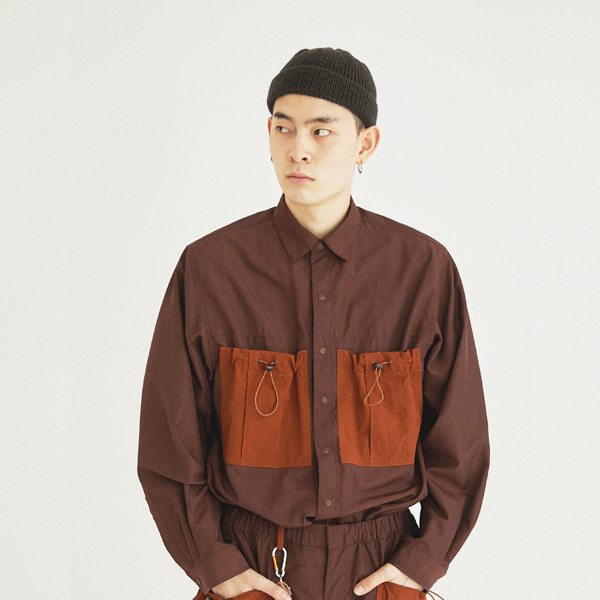 [컨츄리파우더:countrypowder] COUNTRY BIG POCKET SHIRT(BROWN)