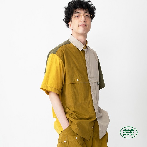 [컨츄리파우더:countrypowder] COLOR BLOCK OVER FIT SHIRTS (MUSTARD)