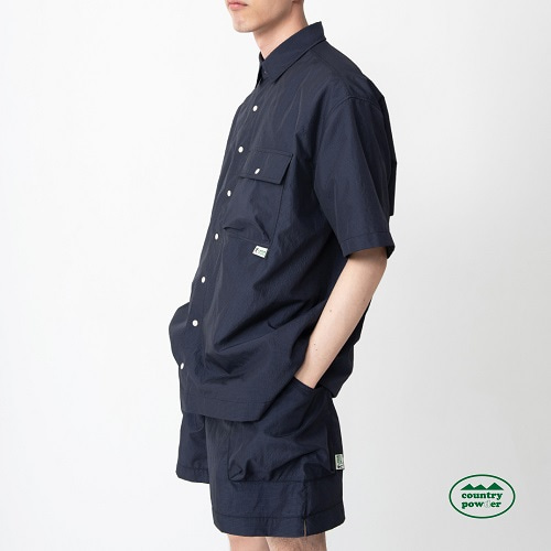 [컨츄리파우더:countrypowder] HIKE OVER FIT CHECK SHIRTS (NAVY)