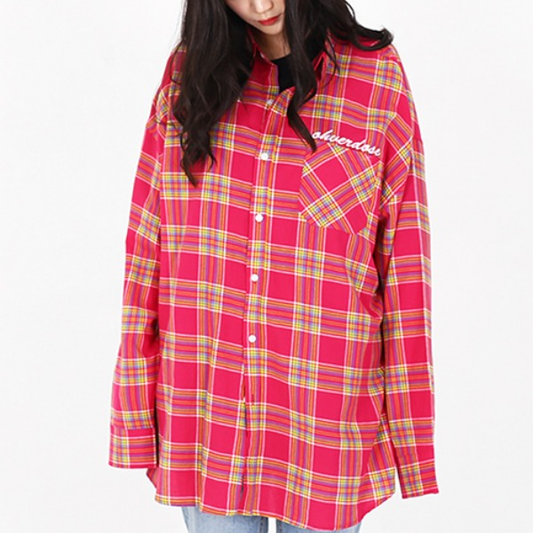 [오버도스:OHVERDOSE] OVER FIT LOGO CHECK SHIRTS PINK