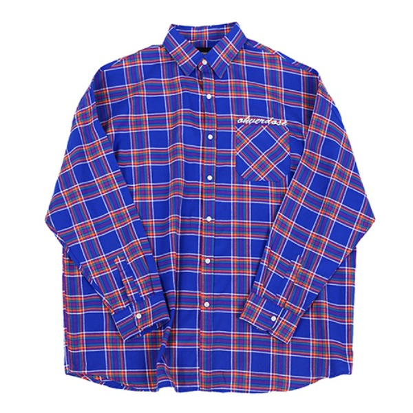 [오버도스:OHVERDOSE] OVER FIT LOGO CHECK SHIRTS BLUE