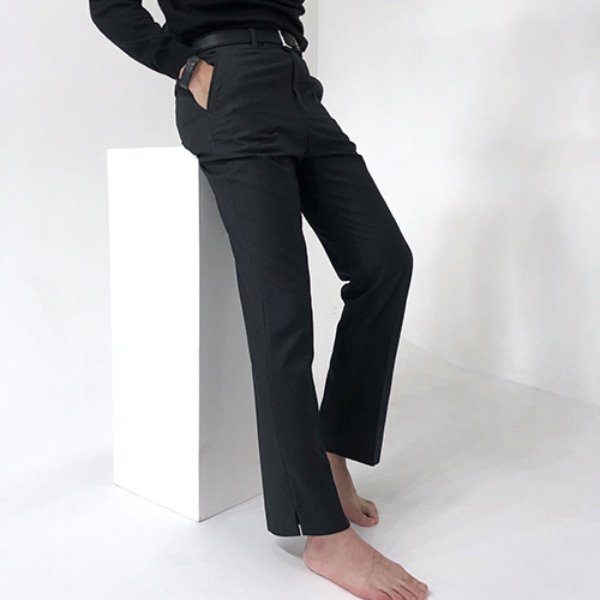 [포블레스:4BLESS] Semi Wide Slacks Charcoal