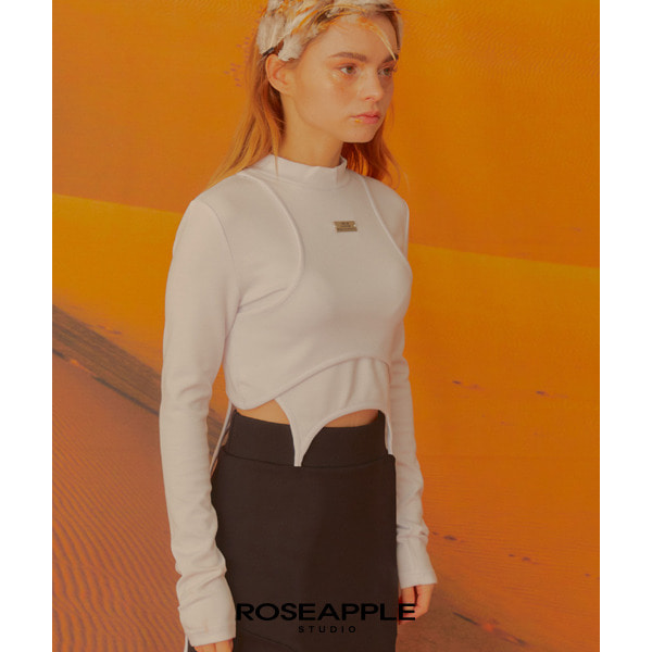 [로즈애플:roseapple] 201LAYER CROP T - WHITE